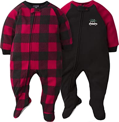 Amazon.com: Gerber Baby Boys 2-Pack Blanket Sleeper, Red/Grey Plaid, 18  Months: Clothing