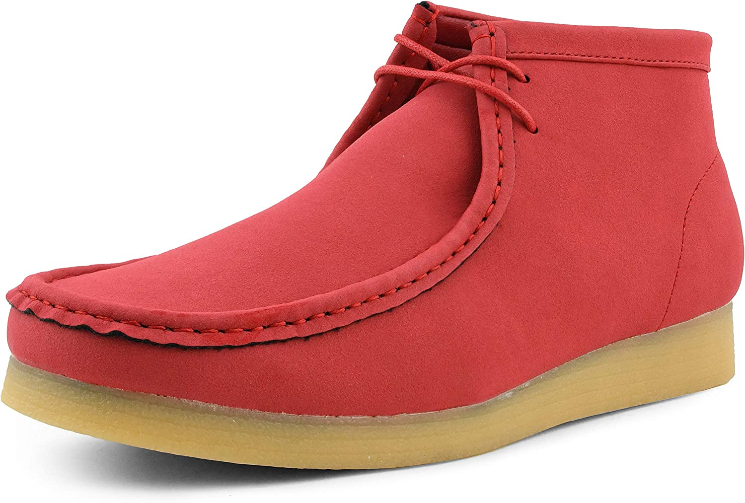 Mens High Top Casual Boots Amali Jason2 Crepe Rubber Sole Manmade Suede Moc Toe Chukka Boots Mens Moc Toe Chukka Boots Lace Up Casual Boots