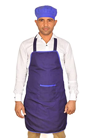 Switchon polyester Waterproof Apron with cap - (Blue)
