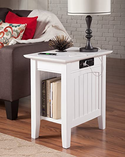 Charmant Atlantic Furniture AH13312 Nantucket Side Table Rubberwood, White