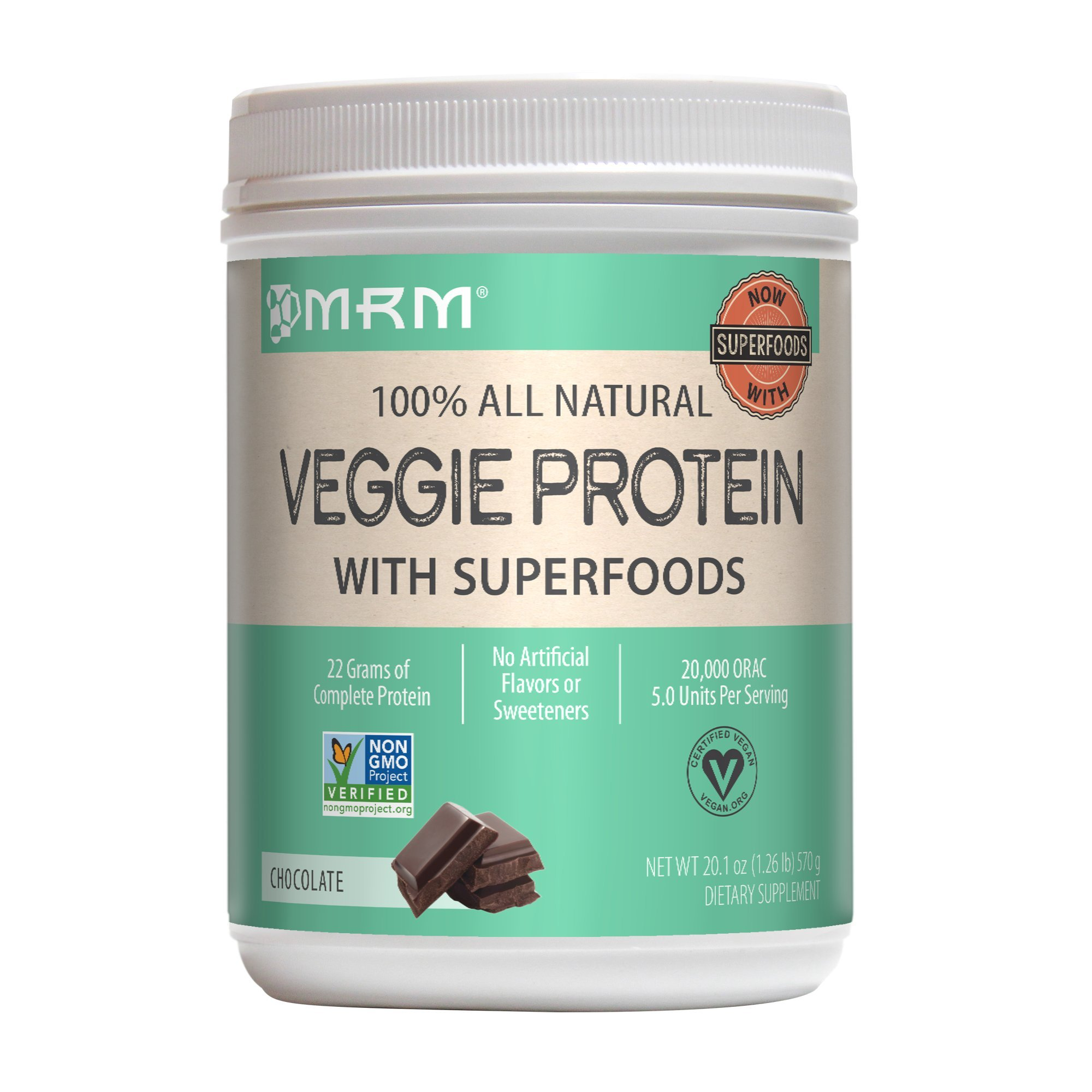 MRM - Veggie Protein Powder, Protein Source for Vegans, Gluten-Free & Preservative-Free, Non-GMO Verified (Chocolate, 1.26 lbs)