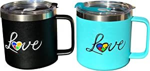 Cool Coffee Mug with Lid and Handle - JTSC Products 2 Pack 14 oz Double Wall Insulated Stainless Steel coffee mug - Cool gifts for Men - Large coffee mug for Camping (Special BlackBlue)