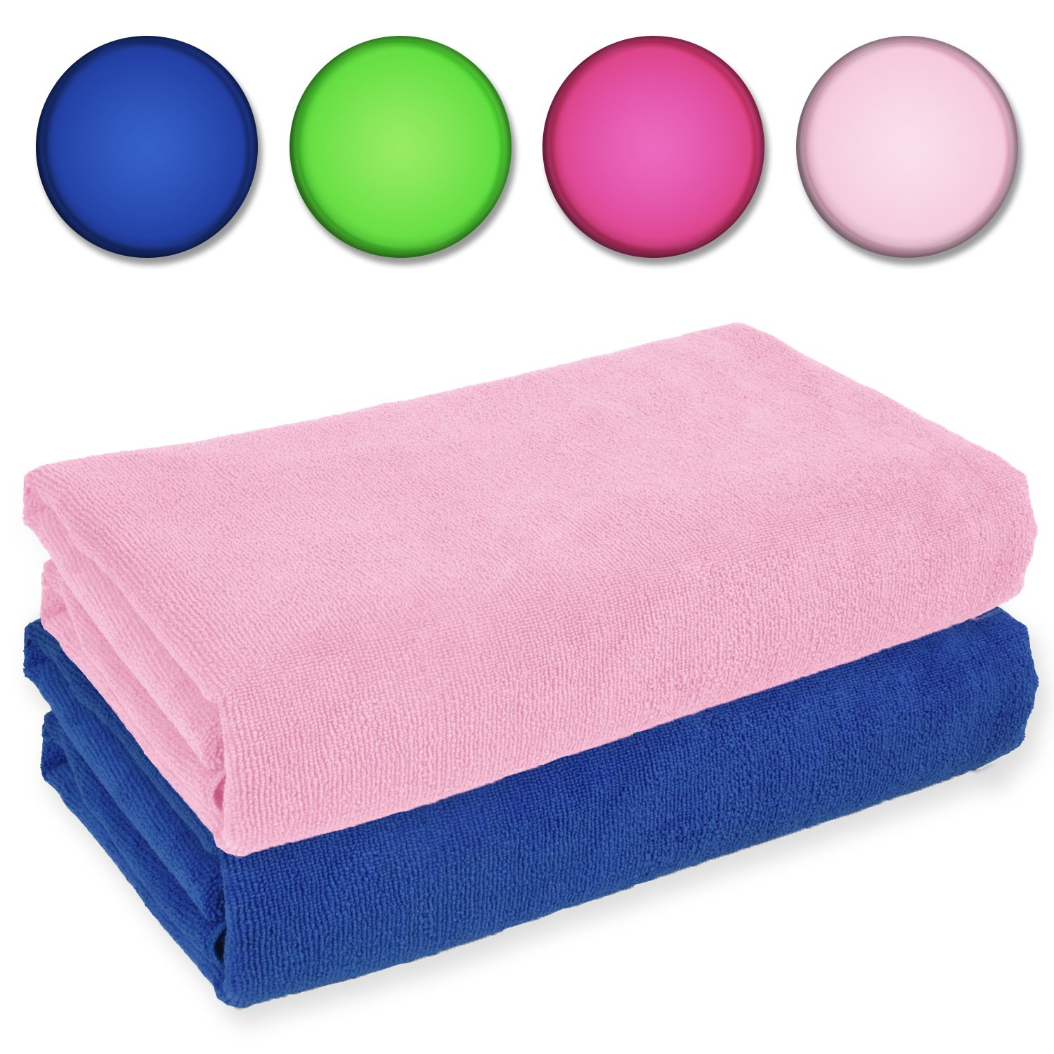 Belmalia 2 Microfibre Towels XXL extremely absorbent and quick-drying 180 x 75 cm Blue + Green Belmalia GmbH BM-1001gr-bl