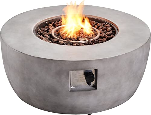 Peaktop HF36501AA Round 50,000 BTU Concrete Propane Gas Fire Pit Table for Outdoor Patio Garden Backyard Decking with PVC Cover, Lava Rock, 36 , Light Gray