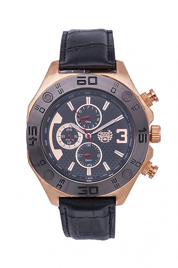 Amazon.com: ShoppeWatch Mens Watch Reloj Black Leather Band Rose Gold Tone Case Large Black Face Day Date AQ202834G: Watches