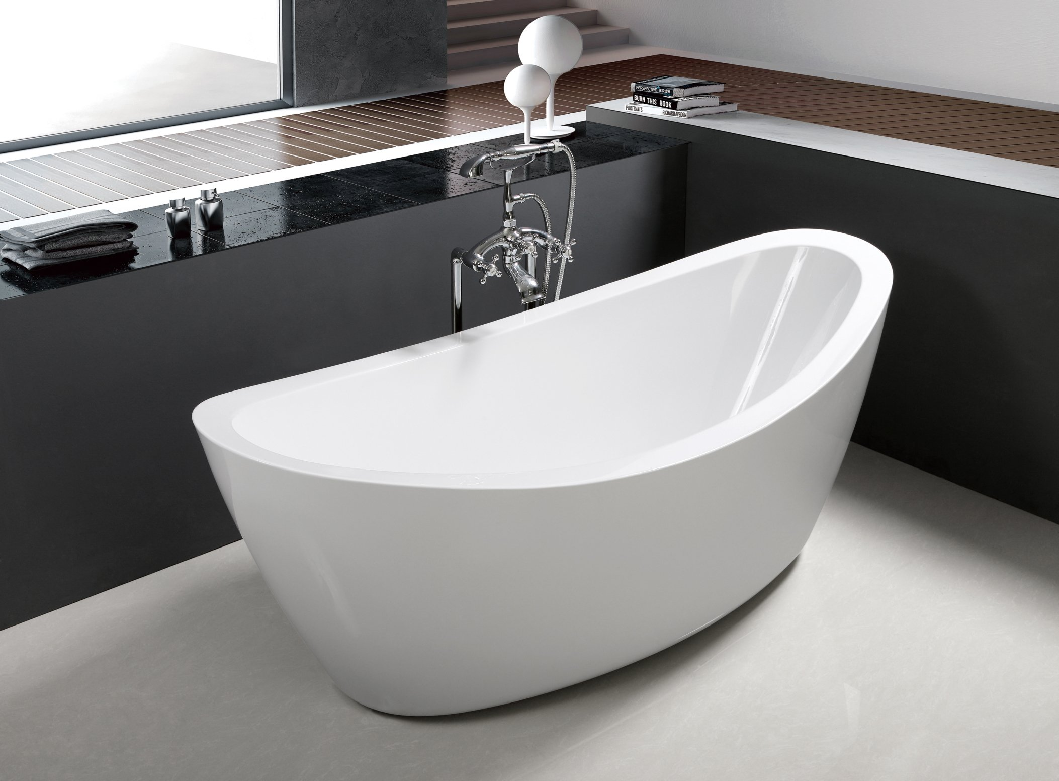 71'' Freestanding Luxury Bathtub White Acrylic