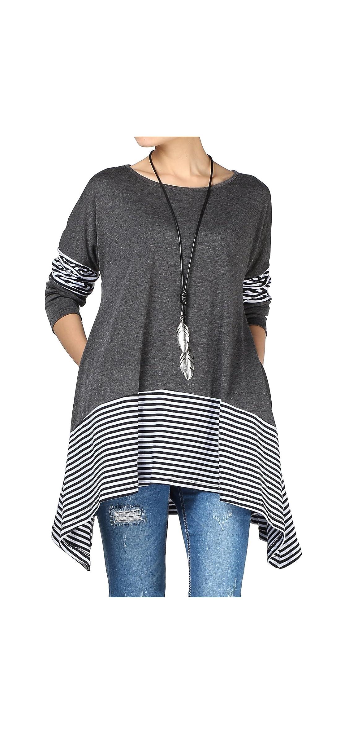 Women's Stripes Asymmetry Tunic Swing Flowy Plain Top