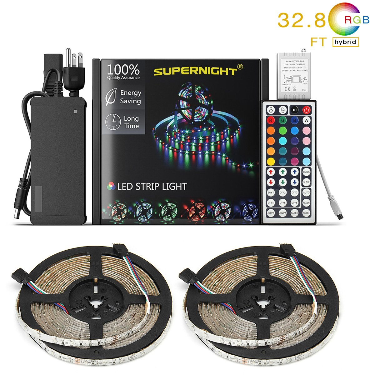SUPERNIGHT LED Strip Lights,TWO 16.4Ft LED Light Strip Kit Non-Waterproof DC12V 3528 RGB【NO White Color】300leds Flexible Strip Lights with Double PCB 44Key Remote,Stronger Adhesive Tape and 5A Adapter EBT960