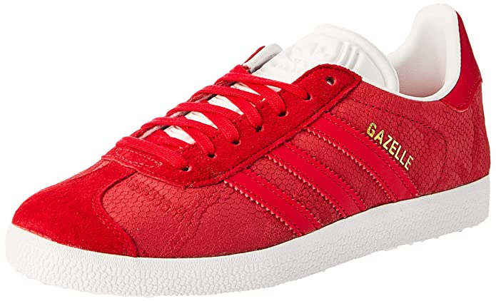 adidas Damen Gazelle Sneaker Rot (Rojfue) mit roten Streifen