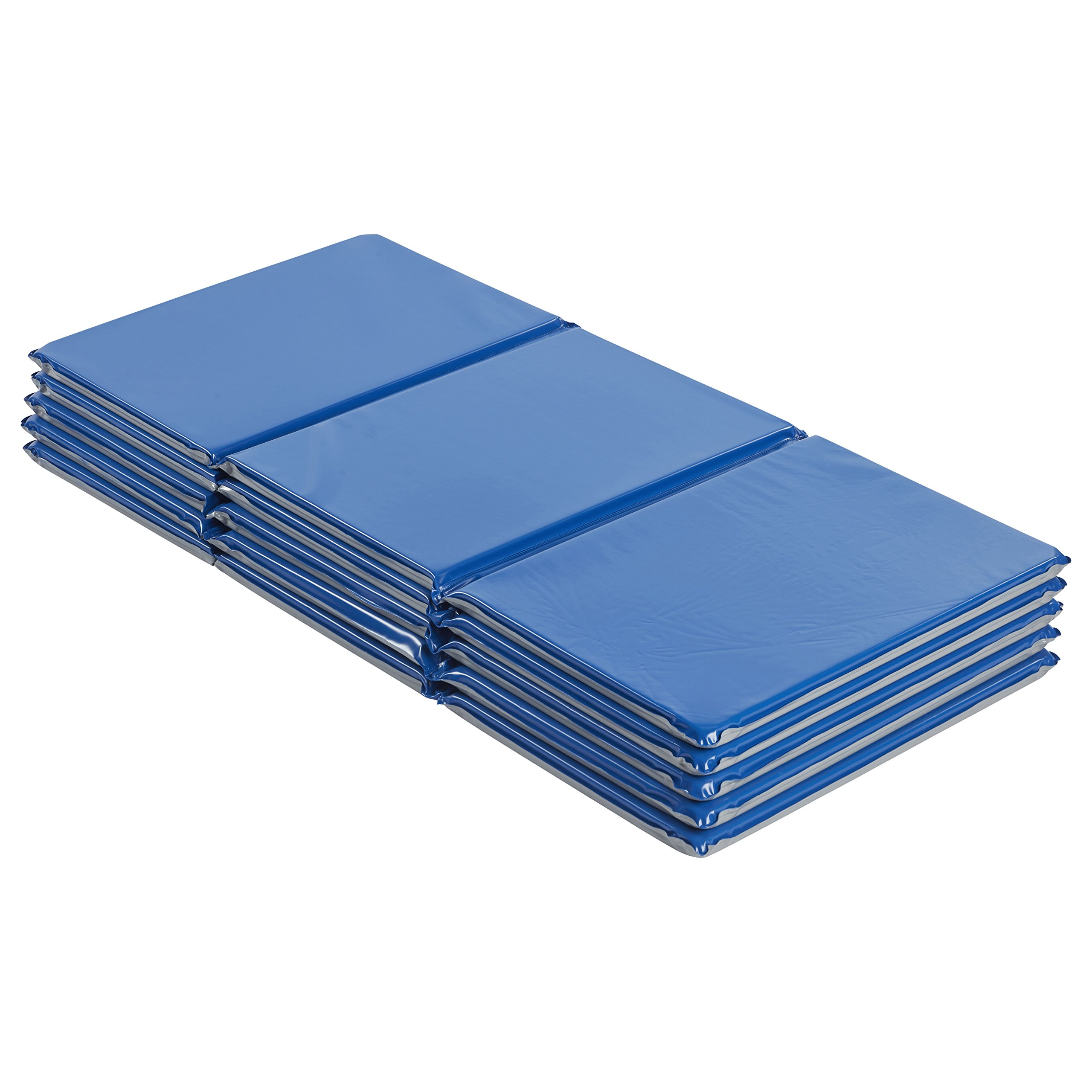 ECR4Kids Everyday 3-Fold Daycare Rest Mat, Blue and Grey (1'' Thick) - 5 Pack by ECR4Kids