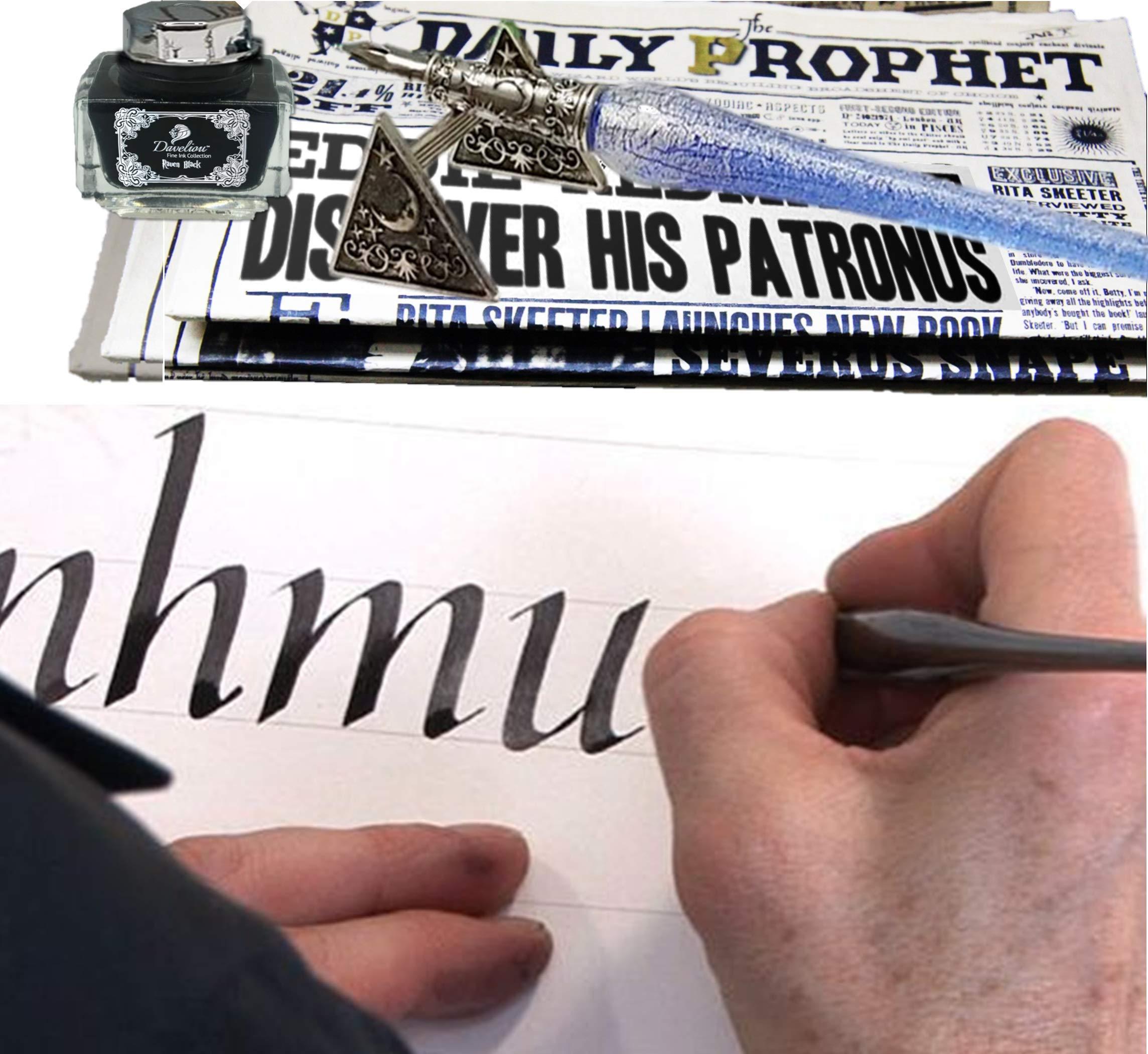 Daveliou Calligraphy Pen Set - 17-Piece Kit - Silver Leaf Blue Glass & Wooden Pens - 10 Nib & 4 Ink Set - Superior Control by Daveliou (Image #7)