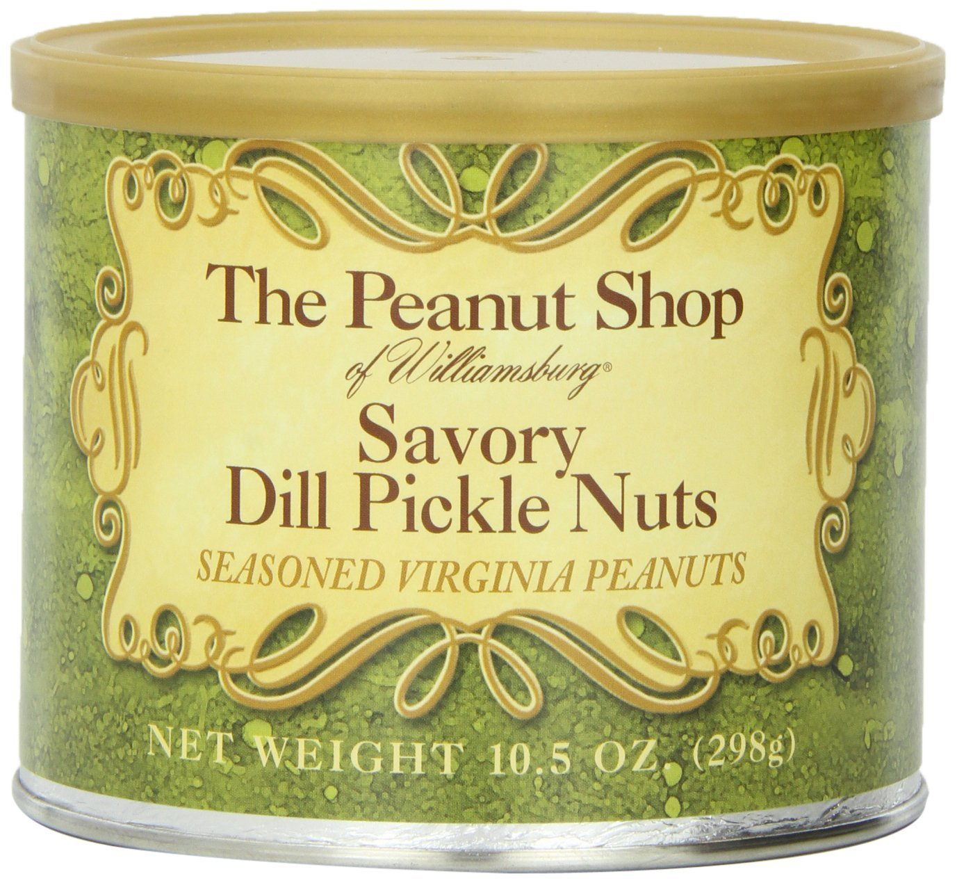 The Peanut Shop of Williamsburg Savory Dill Pickle Nuts, 10.5-Ounce Tin