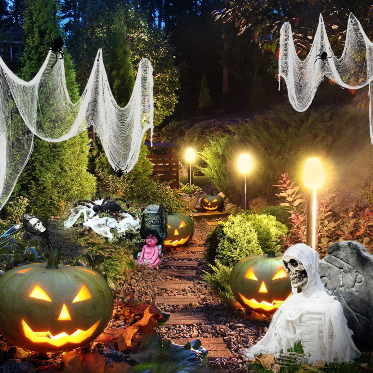 Halloween Creepy Cloth Spooky Halloween Decorations Outdoor Party Supplies for House Doorways Windows (White)