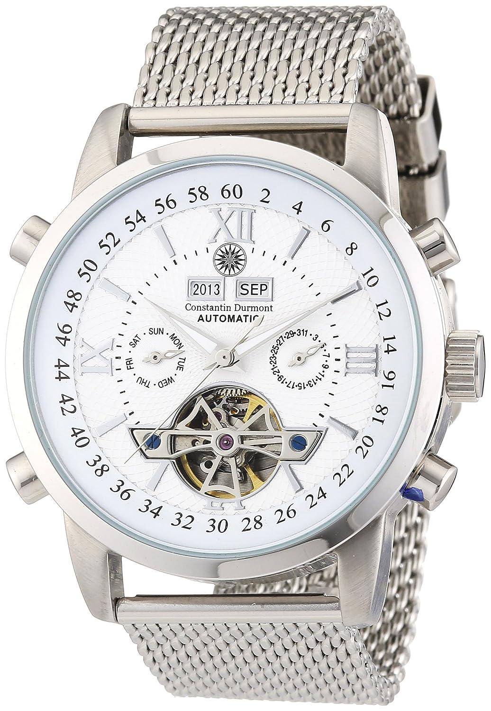 Constantin Durmont CD-CALE-AT-STM2-STST-WH - Reloj analógico automático para Hombre con Correa de Acero Inoxidable, Color Plateado