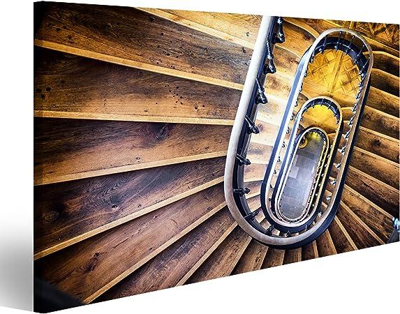 islandburner Cuadro Cuadros Escalera Vieja - escalones de Madera Impresión sobre Lienzo - Formato Grande - Cuadros Modernos: Amazon.es: Hogar