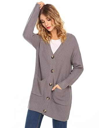 Hotouch Womens Chunky Cardigan Long Sleeves Button V Neck Pockets ...