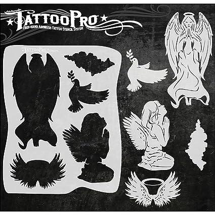 876c6b230 Amazon.com: Airbrush Tattoo Pro Stencil (Angels)