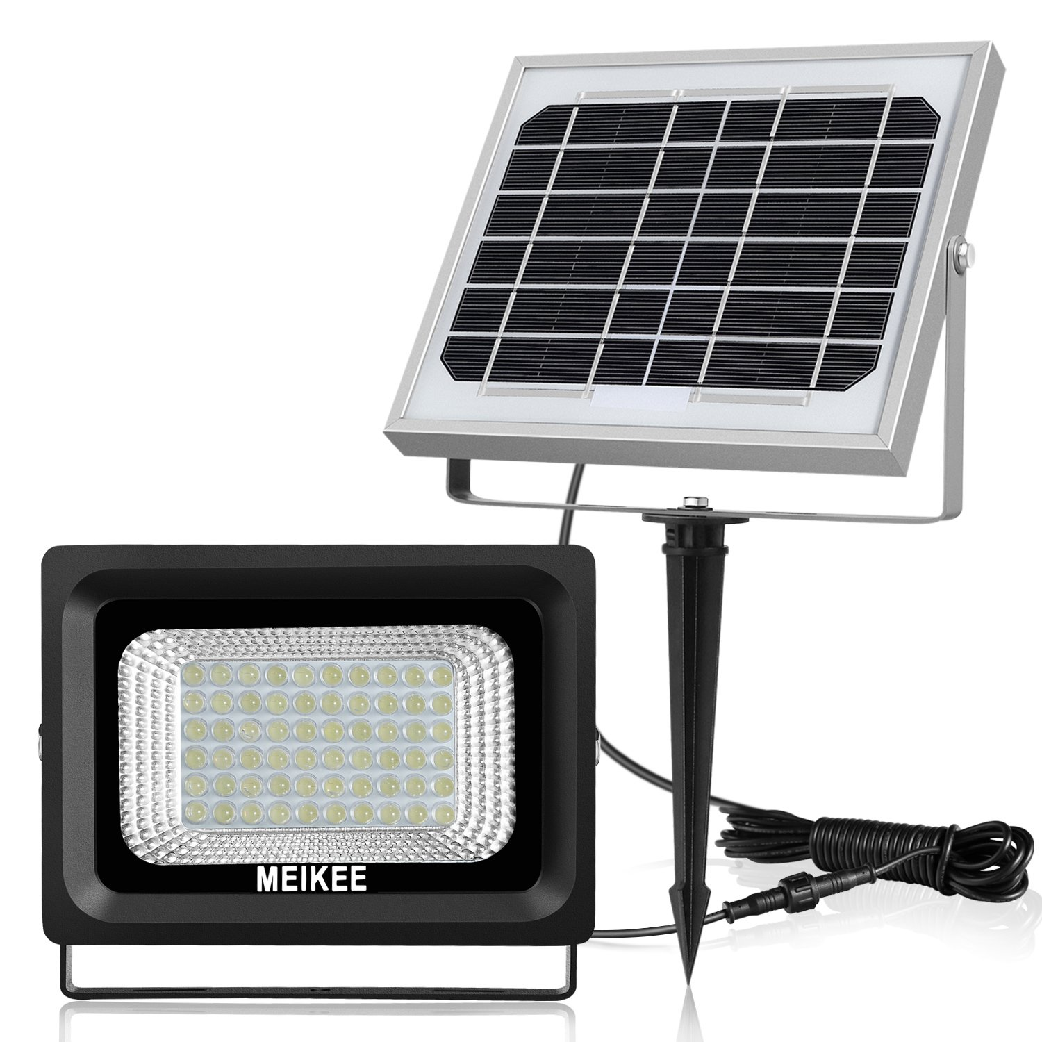 MEIKEE 60LED Solar Lights with Motion Sensor, Outdoor Security Light Solar Powered Flood Light, IP66 Waterproof 6000K Daylight White LED PIR Sensor Lights for Garden, Yard, Driveway, Fence
