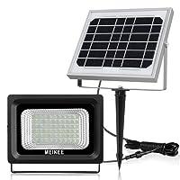 MEIKEE Projecteur Solaire Rechargeable 60 LEDs Étanche IP66, 6000K 300LM Lampe solaire de sécurité parfait pour patios, balcons, parasols, garages, jardins, couloir, etc [Classe énergétique A+]