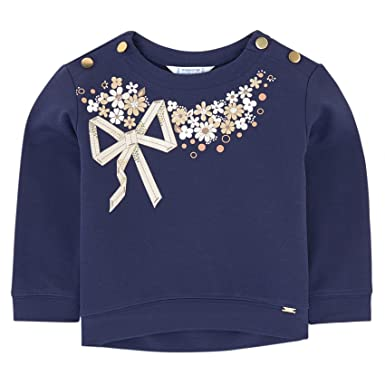 de5b89f13f571 PRINCESSE ILOU Sweat illustré Fleurs Strass - Marine - 6 Ans  Amazon ...