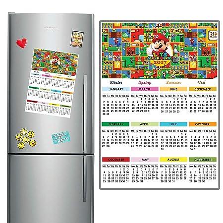 Mario 2017 imán para nevera calendario 29 x 21 cm de tamaño A4 ...