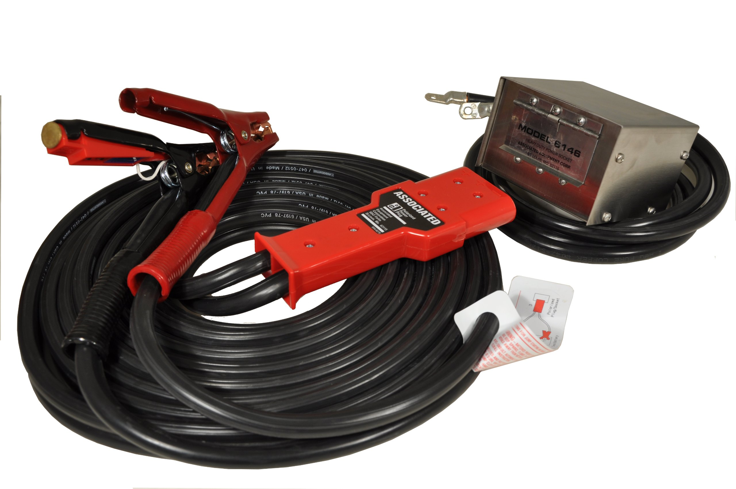 Associated Equipment 6146 30' Stainless Steel Polarized Heavy Duty Plug-in Cable Set with Socket Box by Associated Equipment