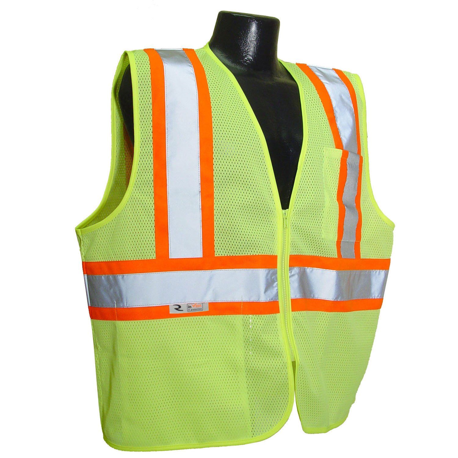 Radians SV22-2ZGM-5X Polyester Mesh Economy Class 2 High Visibility Zipper Closure Vest with Two-Tone Trim, 5X-Large, Green