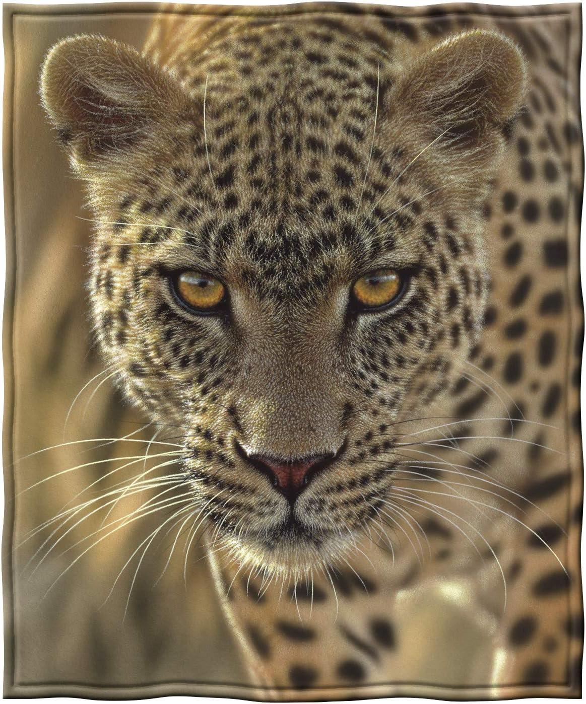 Dawhud Direct Fleece Throw Blanket by Collin Bogle (On The Prowl Leopard)