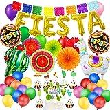 MMTX Mexicana Fiesta Decoraciones De Cumpleaños Coloridas con Abanicos de Papel Alpaca Cactus Globos Bandera Mexicana…