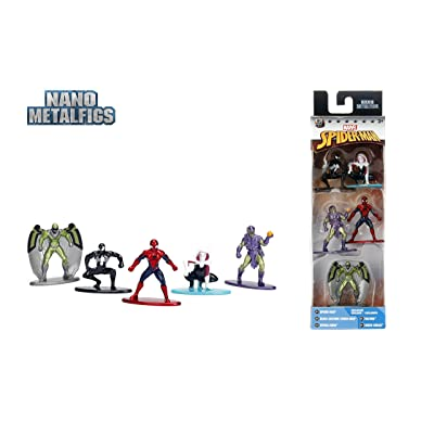 Jada - Nano Steel - Marvel: Pack 1 (Spiderman, Symbiote Spiderman, Spider-Gwen, Vulture, Green Goblin): Toys & Games