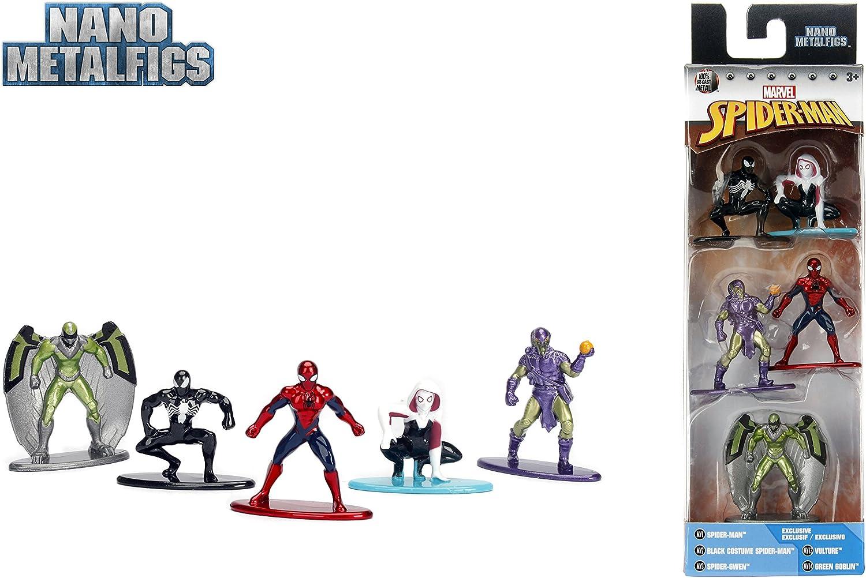 Jada- Nano MetalsFig Pack 5 Figuras Marvel Spiderman, Multicolor ...