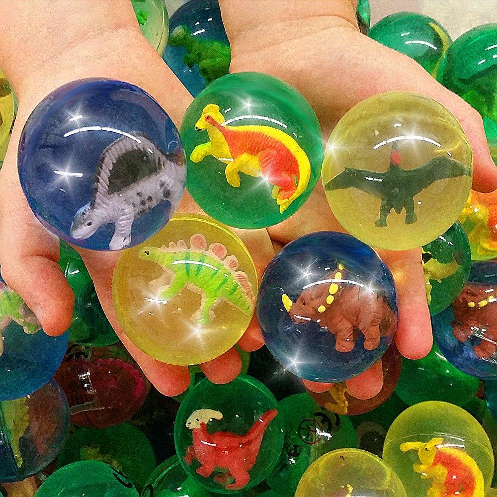 German-Trendseller ® 6 x grosses balles rebondissantes ┃ avec dinosaurien┃ Party Loot ┃pour des enfants┃ petit cadeau ┃ Party Box ┃anniversaire d'enfant ┃chasse au trésor