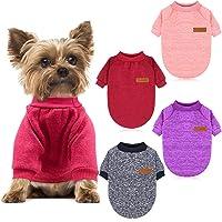 HYLYUN 4 piezas suéter para perro pequeño – Jersey clásico de punto suave grueso cálido cachorro perros camisa invierno…
