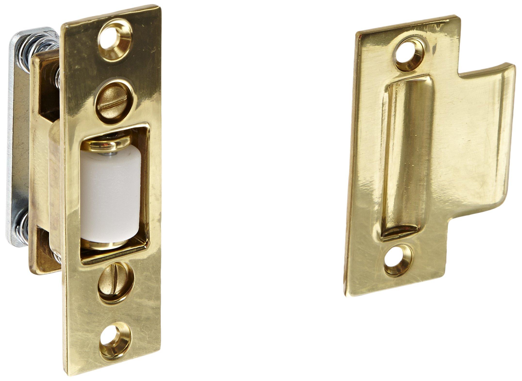 Rockwood 592.3 Brass Roller Latch with #161 Strike, 1'' Width x 3-3/8'' Length, 1-1/8'' Strike Width x 2-3/4'' Strike Length, Polished Clear Coated Finish
