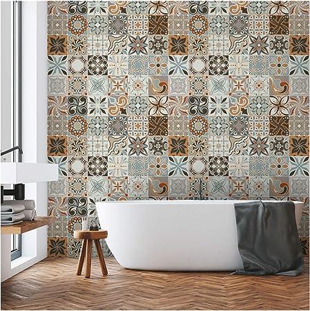 30 Stickers Adhesifs Carrelages Sticker Autocollant Carreaux De Ciment Mosaique Carrelage Mural Salle De Bain Et Cuisine Carreaux De Ciment Adhesif Mural Azulejos 10 X10 Cm 30 Pieces Amazon Fr Cuisine Maison