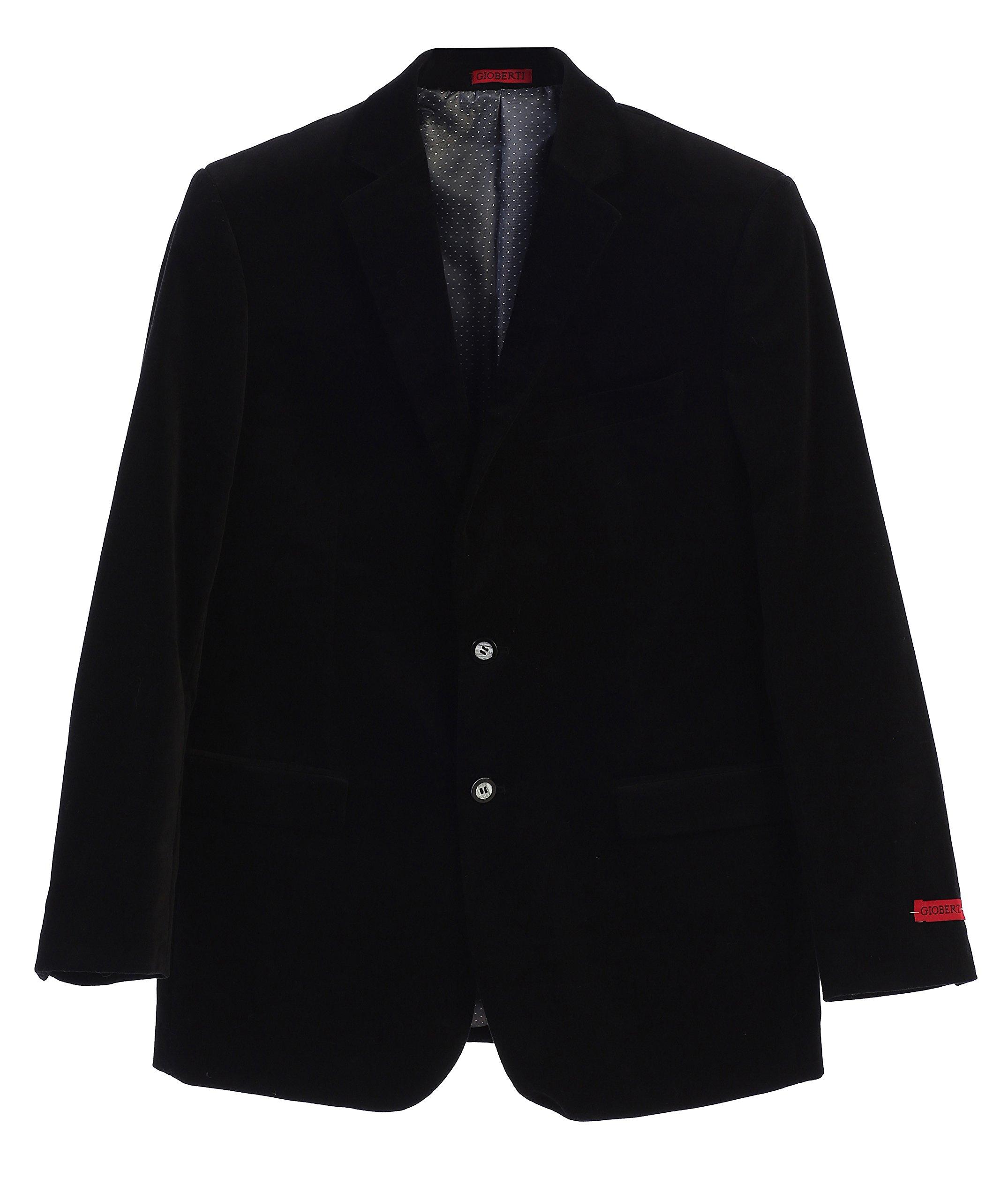 Gioberti Mens Velvet Blazer Jacket, Black, 44 Regular