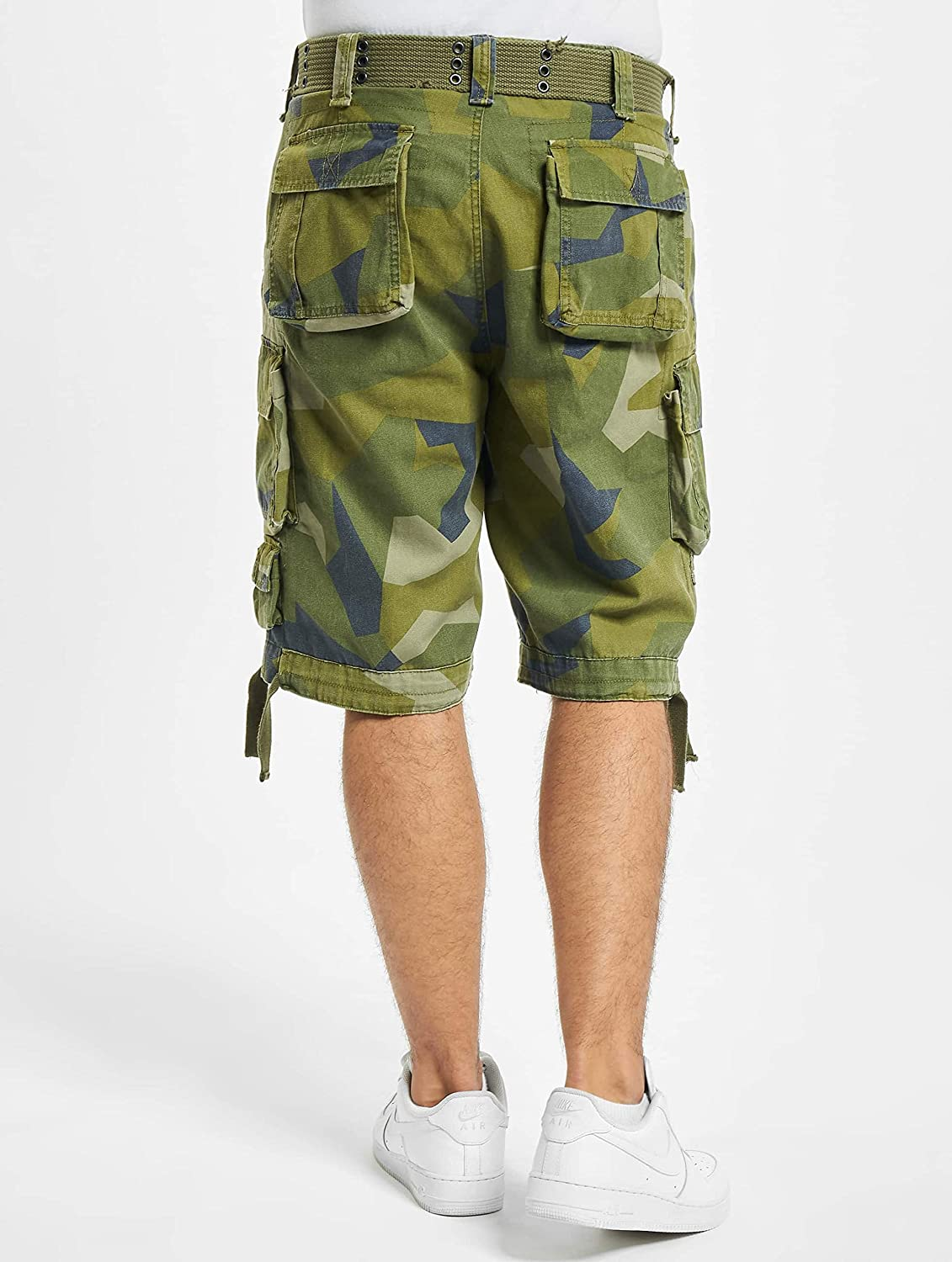 Dark Olive Swedish Army Re-Made Piped Dress Shorts