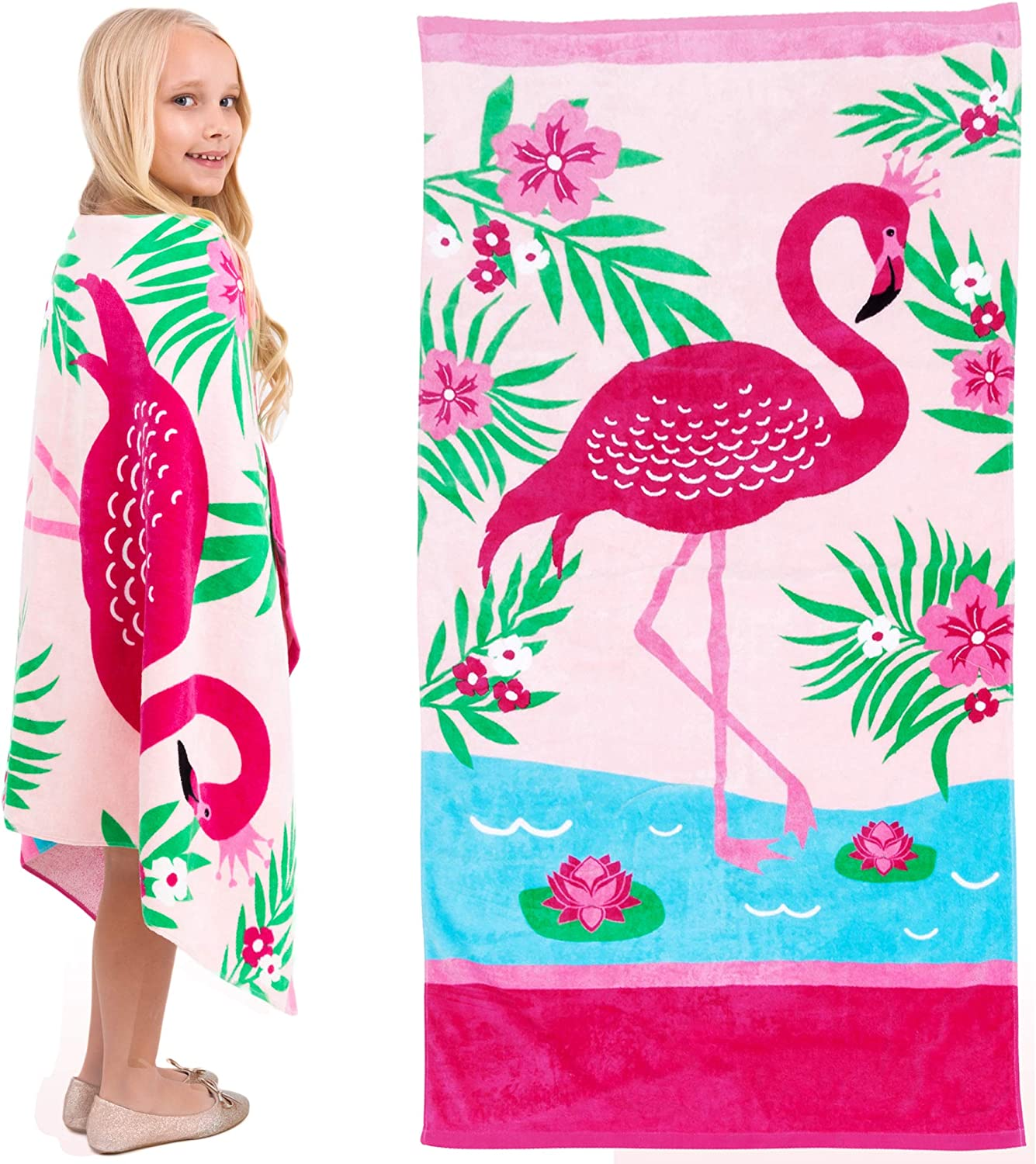 Incredibly Soft Highly Absorbent Personalized Towel 30 59 Custom Micro Velour Bath Towel,Gift for Friends and Family Flamingo Print Rectangular Beach Towel