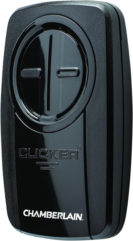 Chamberlain Group KLIK3U-BK Clicker Universal 2-Button Garage Door Opener Remote with Visor Clip, Black - -