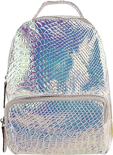 Flada Women Mini Hologram Backpack PU Leather Snakeskin Pattern Travel Gym Casual Daypacks