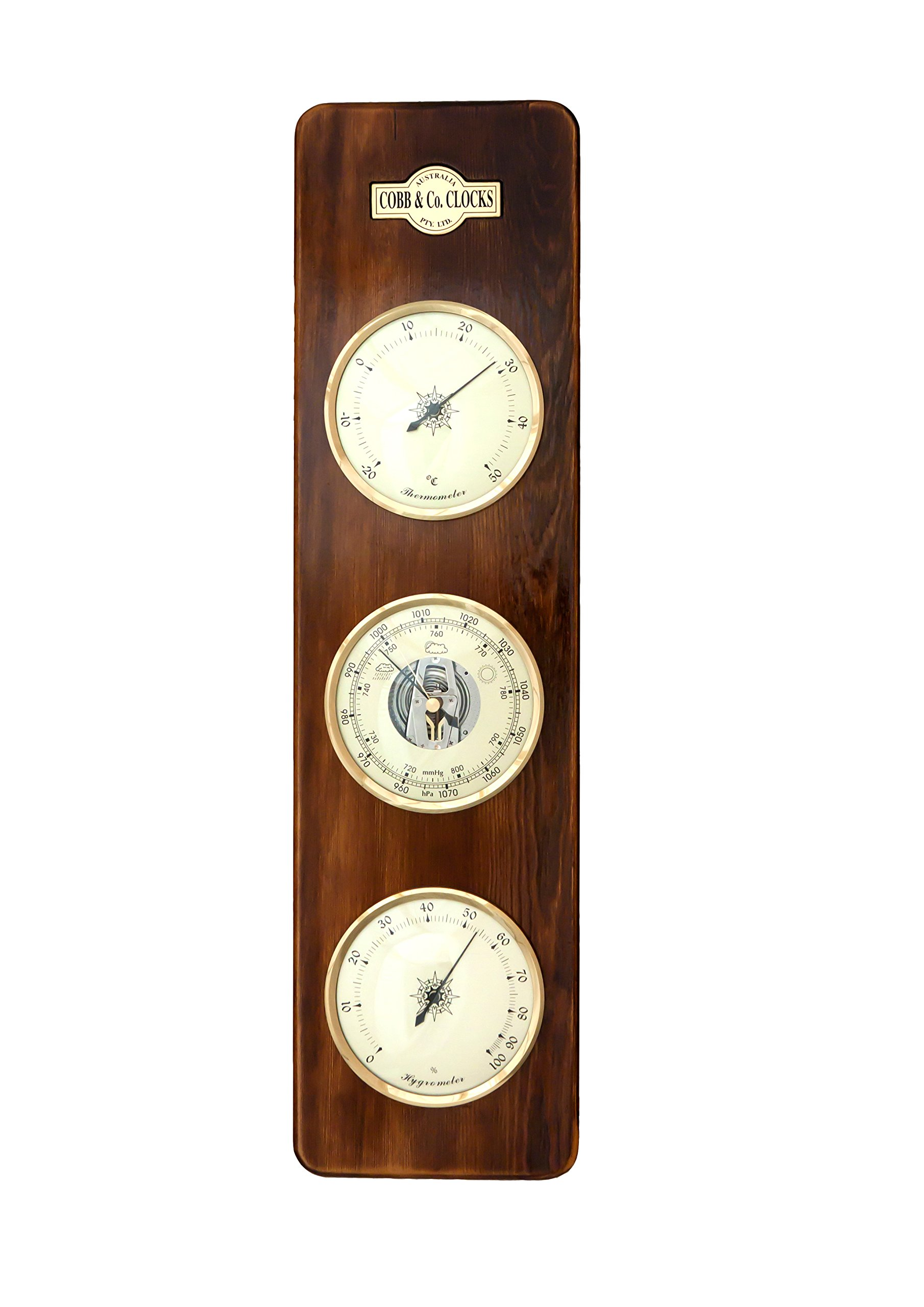 COBB & Co. Large 3 in 1 Barometer, Walnut