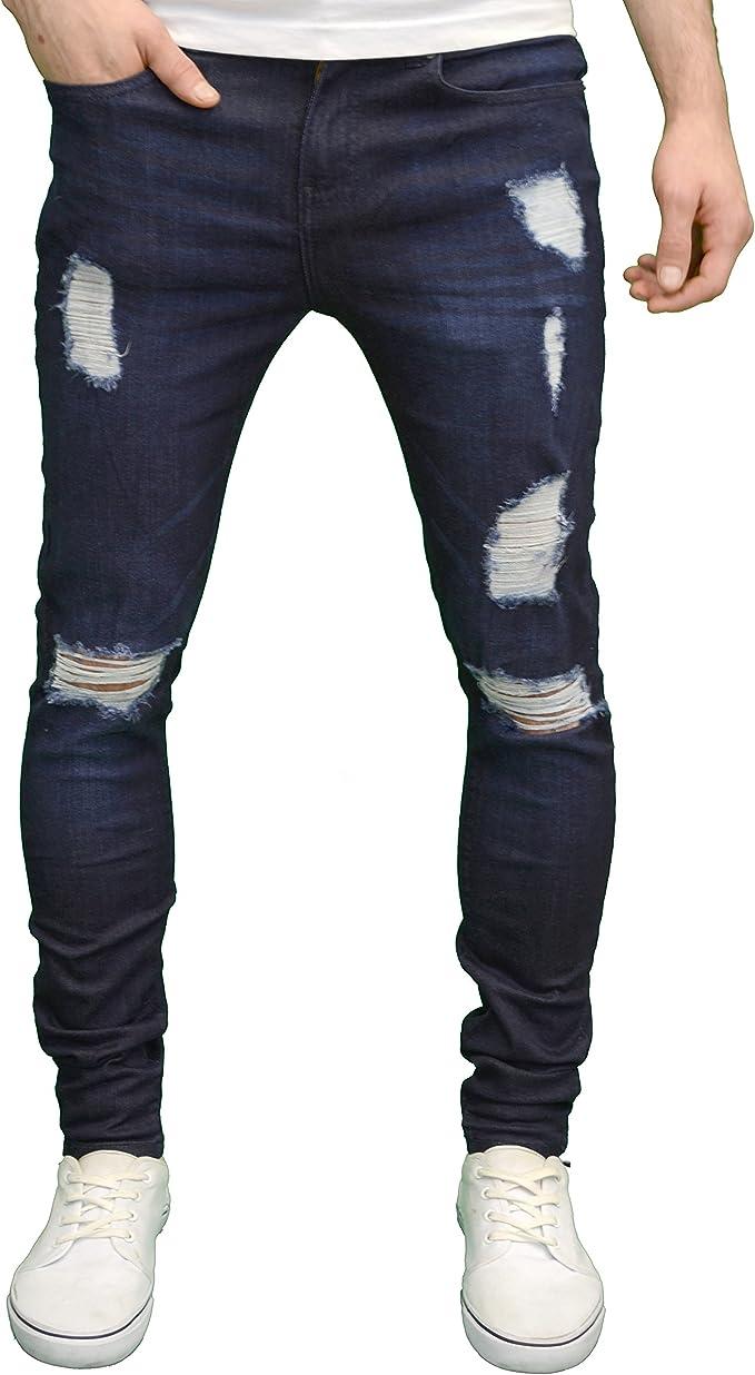 Mens Super Skinny Ripped Destroyed Distress Enzo Designer Stretch Denim Jeans