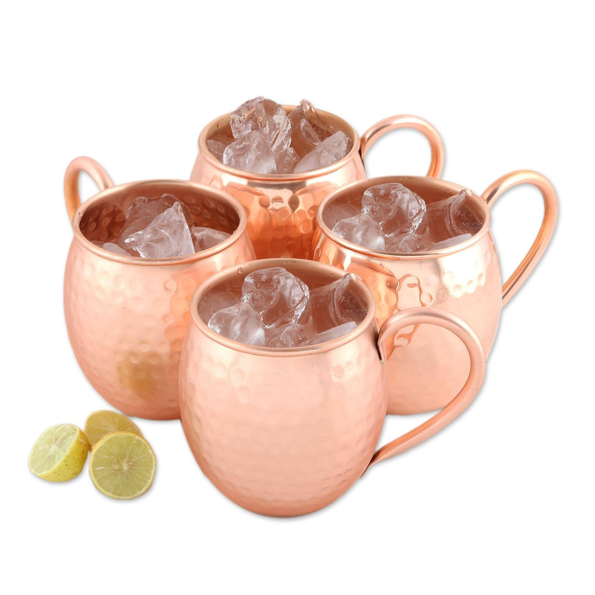 NOVICA Handcrafted Hammered Copper Moscow Mule Mugs, set of 4, 'Friendly Celebration'