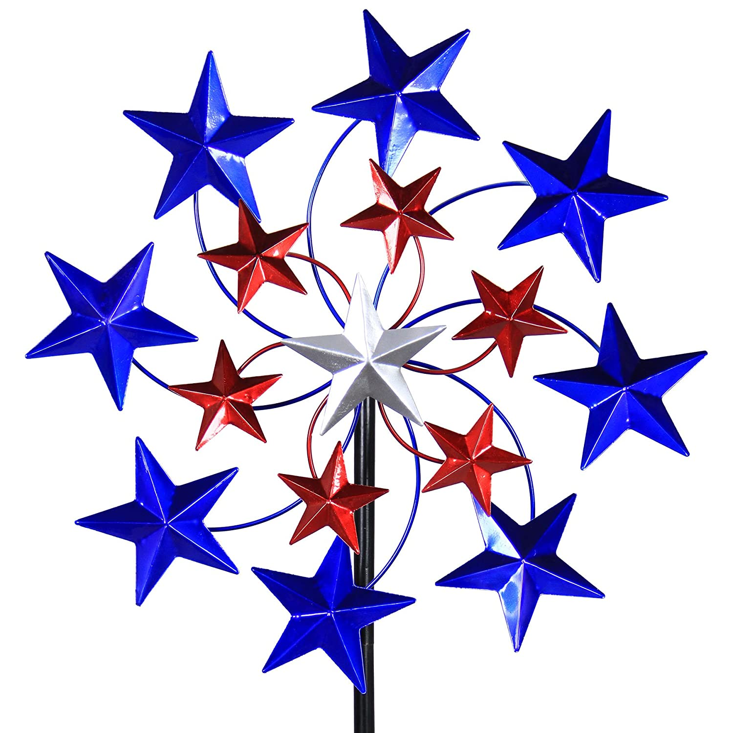 "Exhart Star Spangled Wind Spinner - Pinwheels Outdoor Decor w/American Themed Metal Design - Kinetic Art Garden Spinner with Blue, Red, and White Stars Spinning Blades, 20"" L x 7"" W x 83"" H"