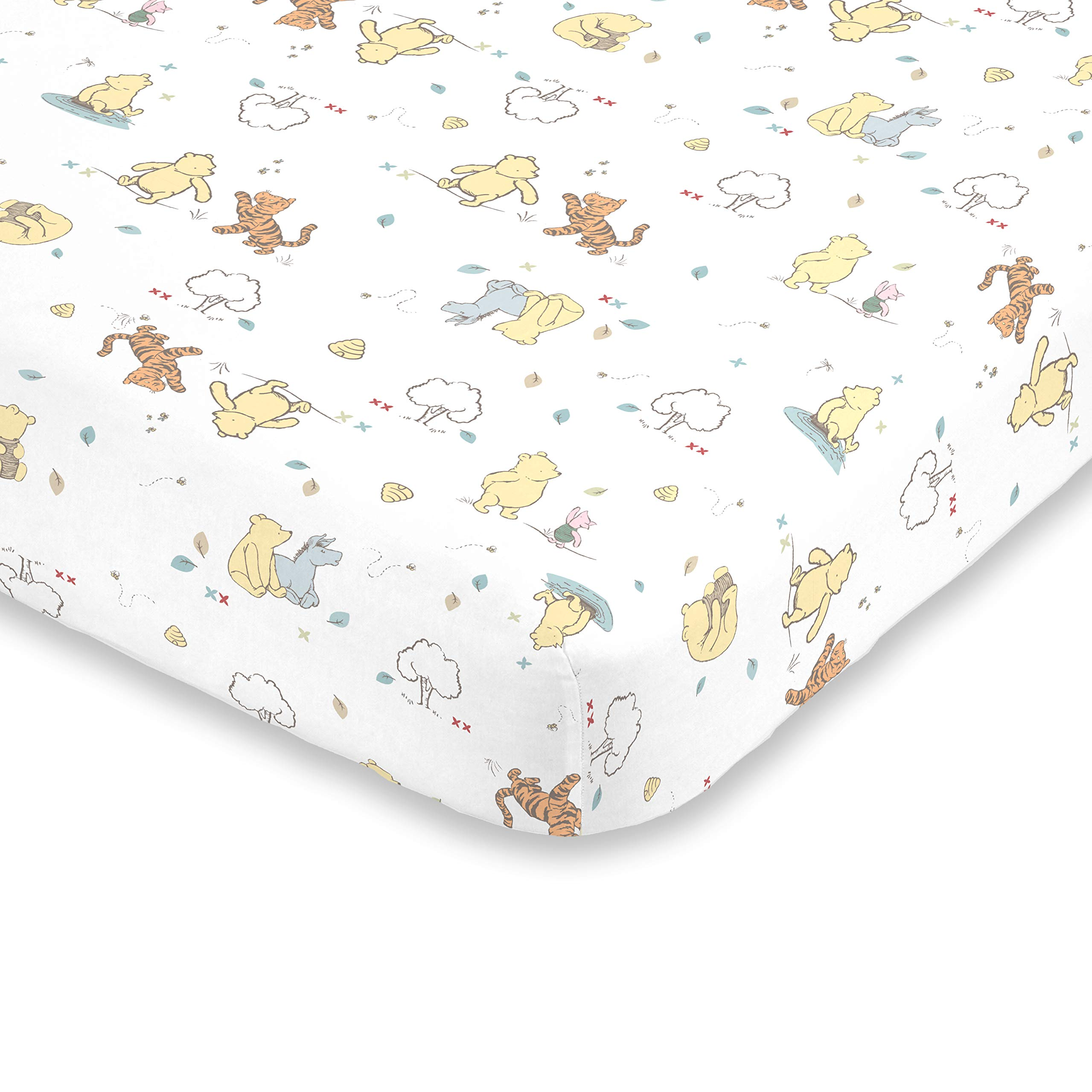 Disney Winnie The Pooh Classic Pooh 100% Cotton Fitted Crib Sheet, Ivory, Butter, Aqua, Orange by Disney (Image #1)