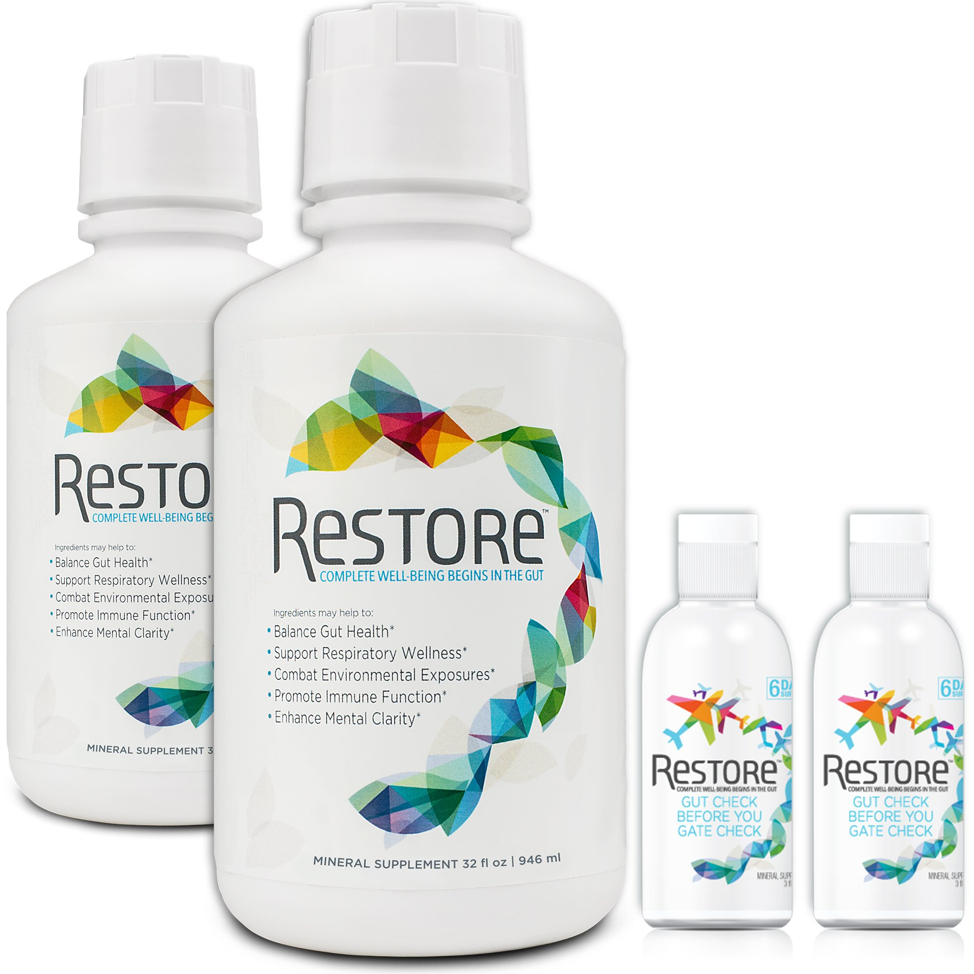 Restore Gut Health Mineral and Lignite Liquid Supplement, Family Pack, (2 x 32 oz. and 2 x 3 oz.) by RESTORE COMPLETE WELL-BEING BEGINS IN THE GUT