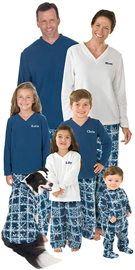 Fleece Snowflake Family Christmas Pajama Sets