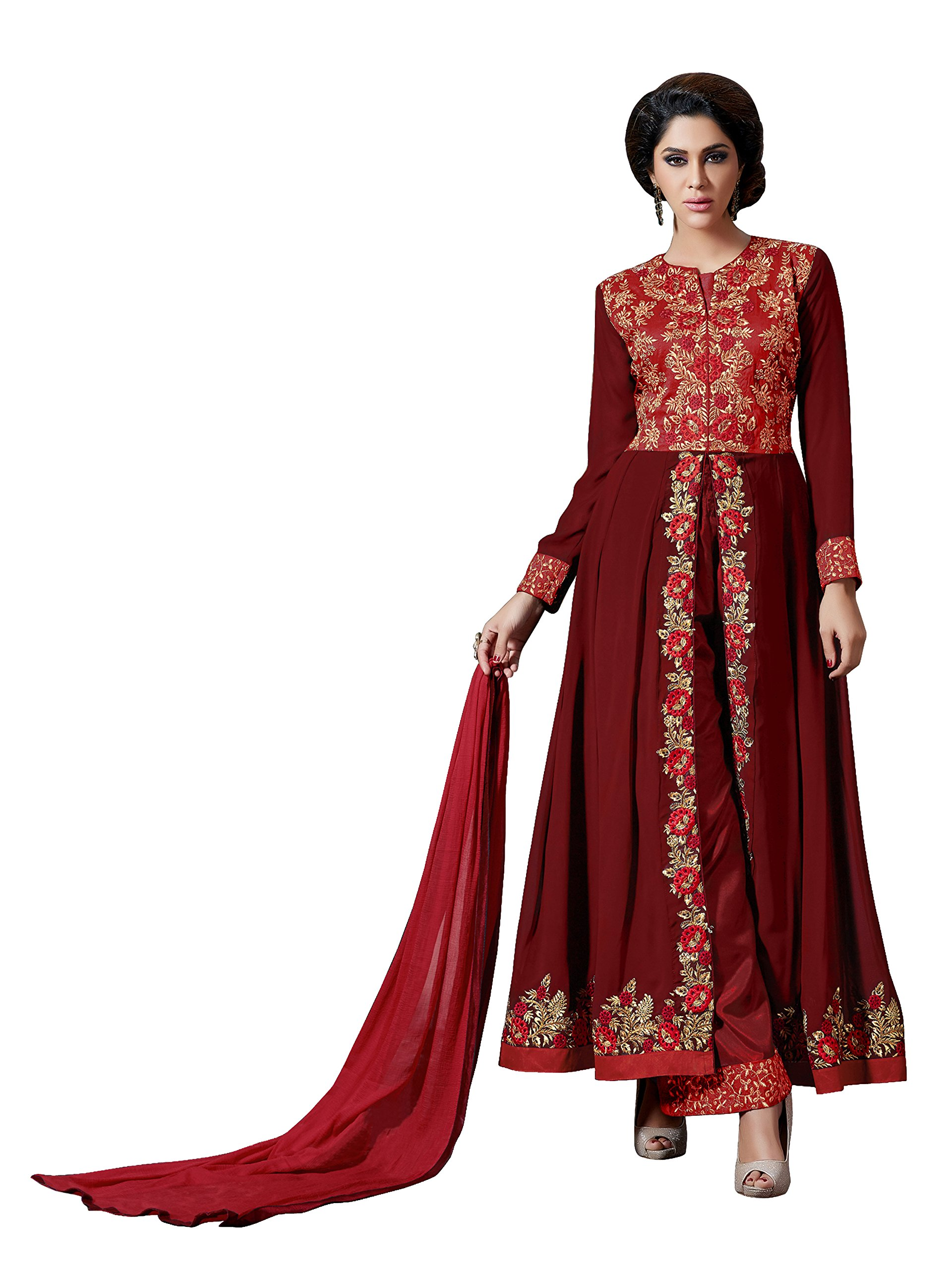 Sourbh Women's Maroon Faux Georgette Embroidered Semi-Stitched Partywear Dress Material