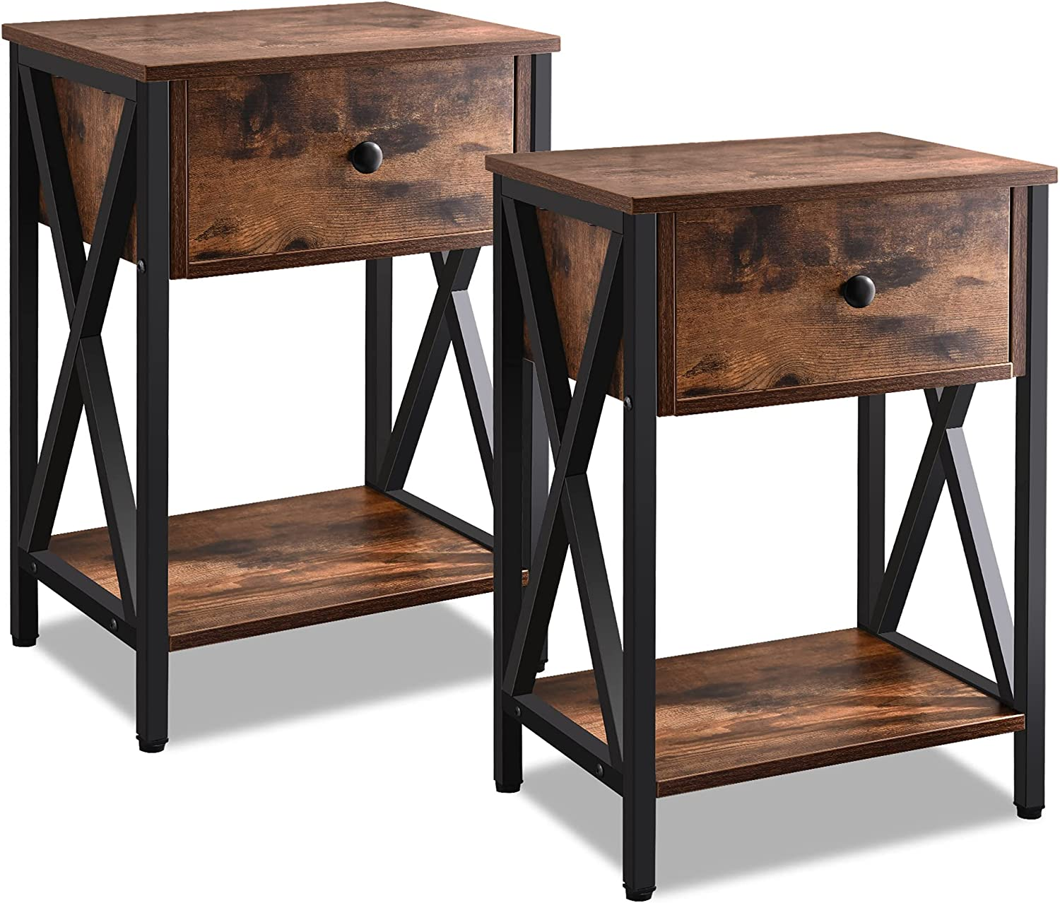 Night Stands Set of 2, Industrial End/ Side Table with Drawers and Open Storage Shelf,Wood Accent Furniturefor Bed Room, Living Room and Other Small Spaces, Rustic Brown