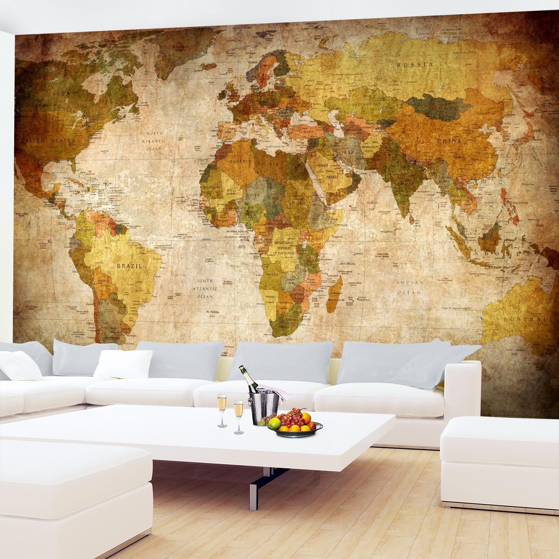 Fototapeten Weltkarte Vintage 352 x 250 cm Vlies Wand Tapete ...